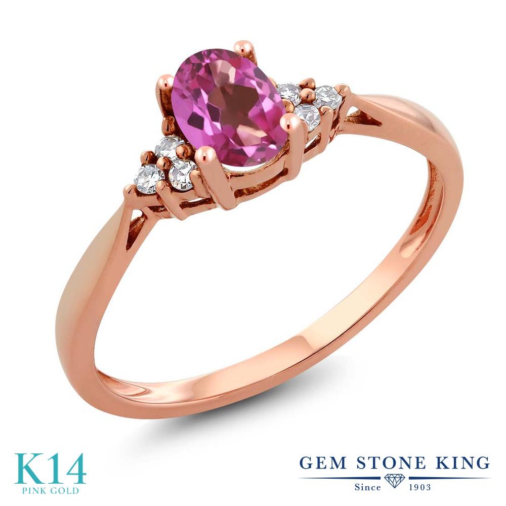 Gem Stone King 0.56カラット 天然 ミスティックトパーズ (ピンク) 天然 ダイヤモンド 14金 ピンクゴールド(K14) 指輪 リング レディース 小粒 ソリティア 天然石 金属アレルギー対応 誕生日プレゼント