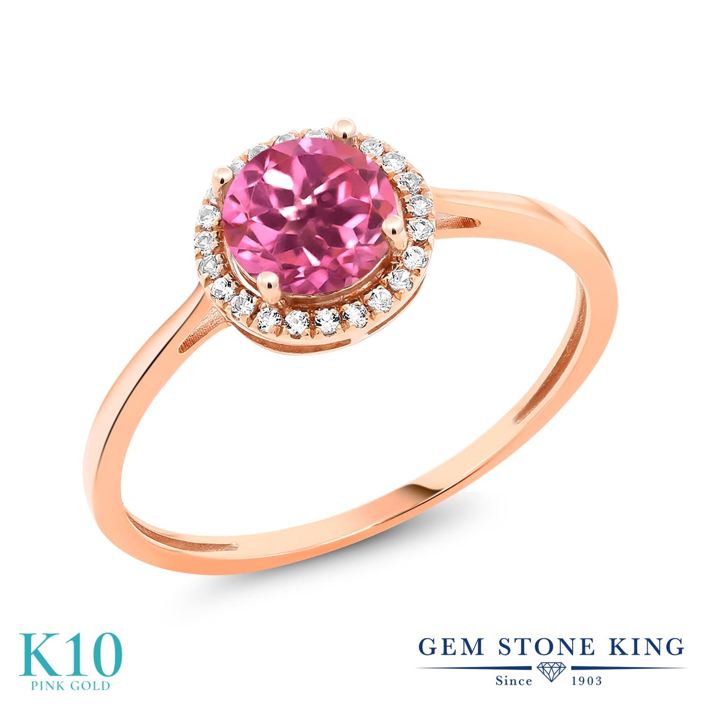 Gem Stone King 1.72カラット 天然 ミスティックトパーズ (ピンク) 天然 ダイヤモンド 10金 ピンクゴールド(K10) 指輪 リング レディース 大粒 ヘイロー 天然石 金属アレルギー対応 誕生日プレゼント