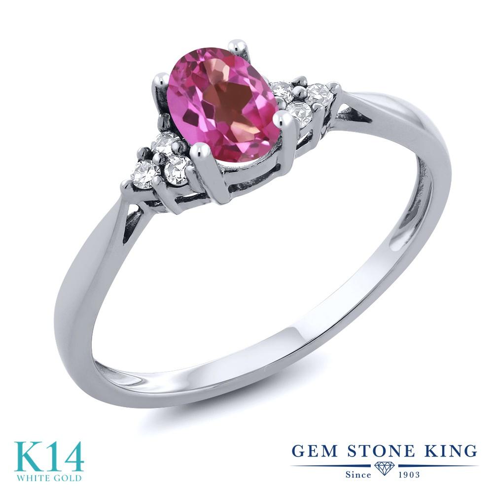 Gem Stone King 0.56カラット 天然 ミスティックトパーズ (ピンク) 天然 ダイヤモンド 14金 ホワイトゴールド(K14) 指輪 リング レディース 小粒 ソリティア 天然石 金属アレルギー対応 誕生日プレゼント