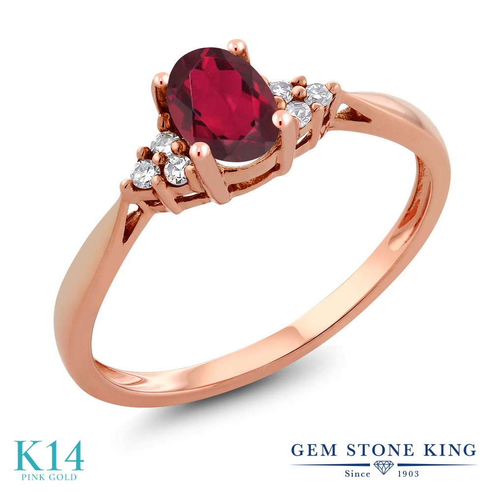 Gem Stone King 0.56カラット 天然 ミスティックトパーズ (ルビーレッド) 天然 ダイヤモンド 14金 ピンクゴールド(K14) 指輪 リング レディース 小粒 ソリティア 天然石 金属アレルギー対応 誕生日プレゼント