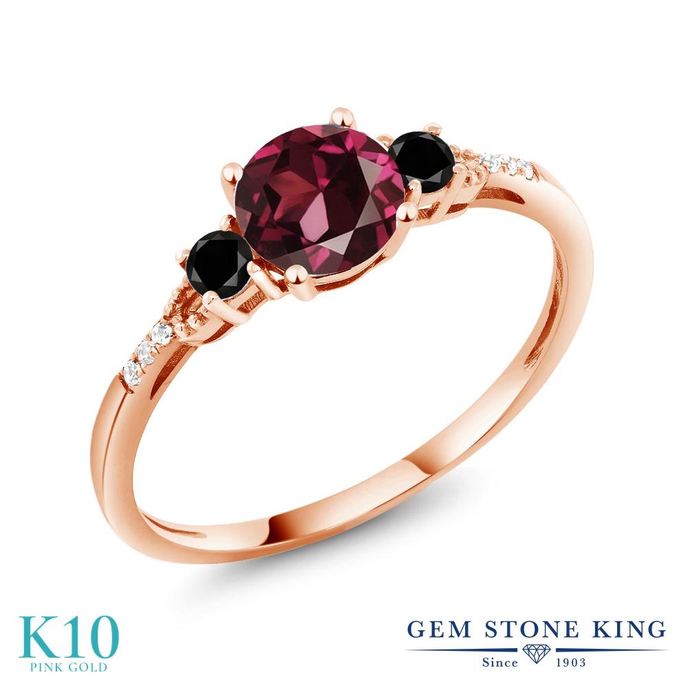 【10%OFF】 Gem Stone King 1.17カラット 天然 ロードライトガーネット ブラックダイヤモンド 指輪 リング レディース 10金 ピンクゴールド K10 大粒 マルチストーン 天然石 クリスマスプレゼント 女性 彼女 妻 誕生日