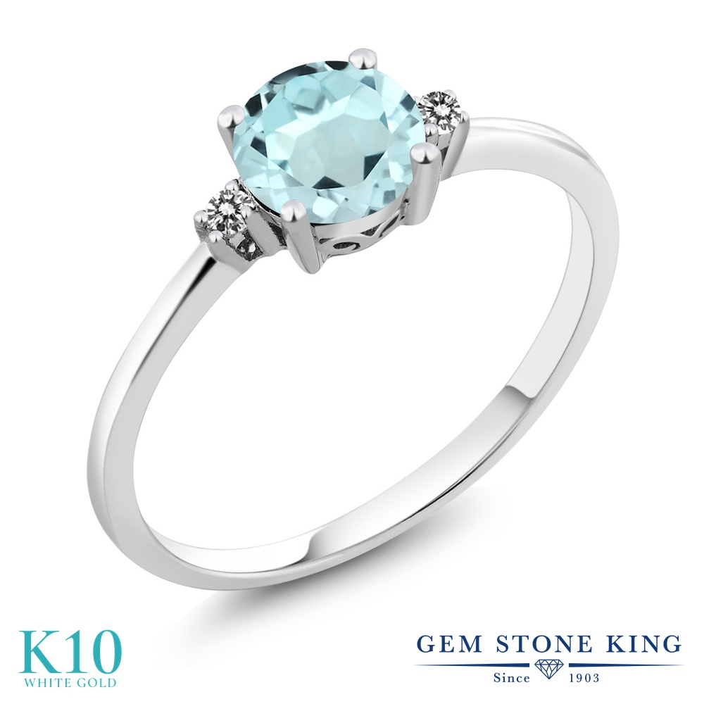 【10%OFF】 Gem Stone King 0.93カラット 天然 スカイブルートパーズ ダイヤモンド 指輪 リング レディース 10金 ホワイトゴールド K10 一粒 シンプル ソリティア 天然石 11月 誕生石 婚約指輪 エンゲージリング