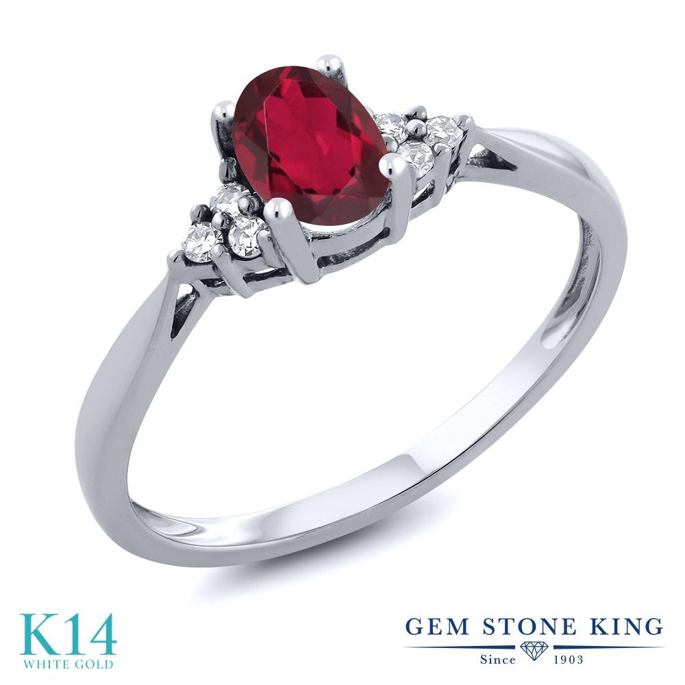Gem Stone King 0.56カラット 天然 ミスティックトパーズ (ルビーレッド) 天然 ダイヤモンド 14金 ホワイトゴールド(K14) 指輪 リング レディース 小粒 ソリティア 天然石 金属アレルギー対応 誕生日プレゼント