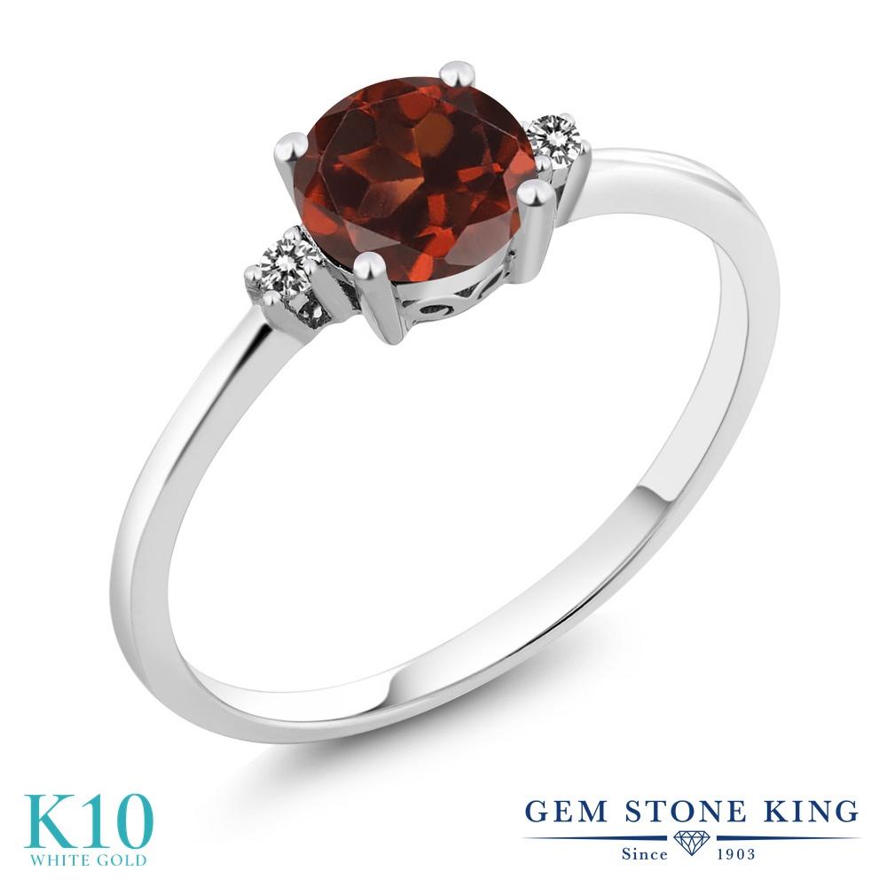Gem Stone King 1.03カラット 天然 ガーネット 天然 ダイヤモンド 10金 ホワイトゴールド(K10) 指輪 リング レディース 大粒 シンプル ソリティア 天然石 1月 誕生石 金属アレルギー対応 誕生日プレゼント