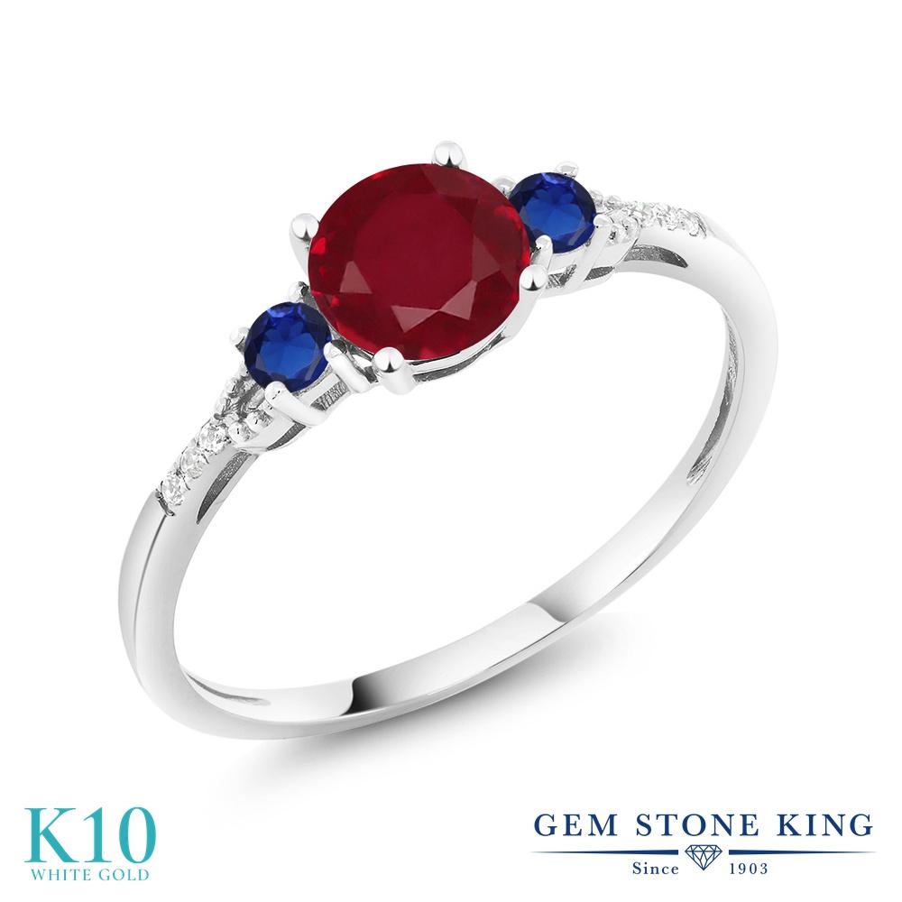 Gem Stone King 1.21カラット 天然 ルビー 天然 ダイヤモンド 10金 ホワイトゴールド(K10) 指輪 リング レディース 大粒 マルチストーン 天然石 7月 誕生石 金属アレルギー対応 誕生日プレゼント