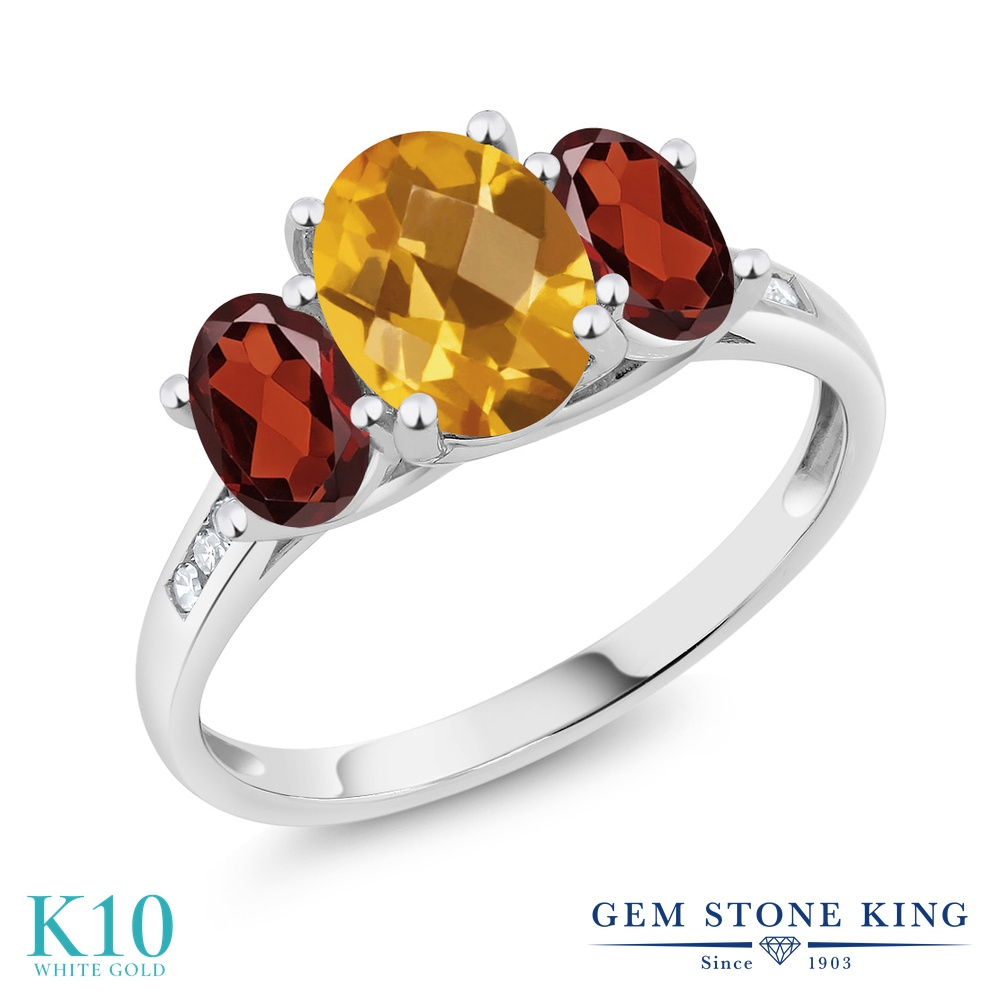 Gem Stone King 2.25カラット 天然 シトリン 天然 ガーネット 天然 ダイヤモンド 10金 ホワイトゴールド(K10) 指輪 リング レディース 大粒 スリーストーン 天然石 11月 誕生石 金属アレルギー対応 誕生日プレゼント