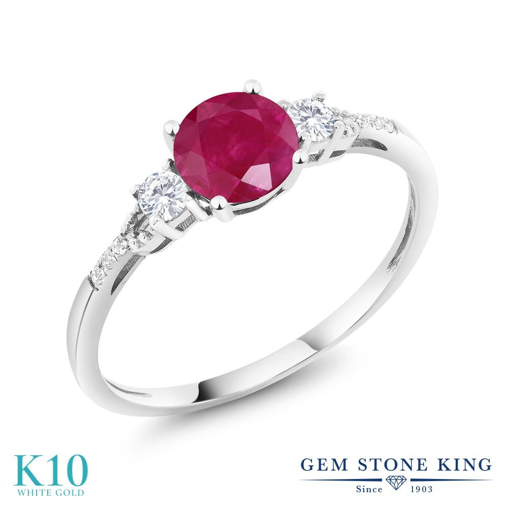 Gem Stone King 1.15カラット 天然 ルビー 合成ホワイトサファイア (ダイヤのような無色透明) 天然 ダイヤモンド 10金 ホワイトゴールド(K10) 指輪 リング レディース 大粒 マルチストーン 天然石 7月 誕生石 金属アレルギー対応 誕生日プレゼント