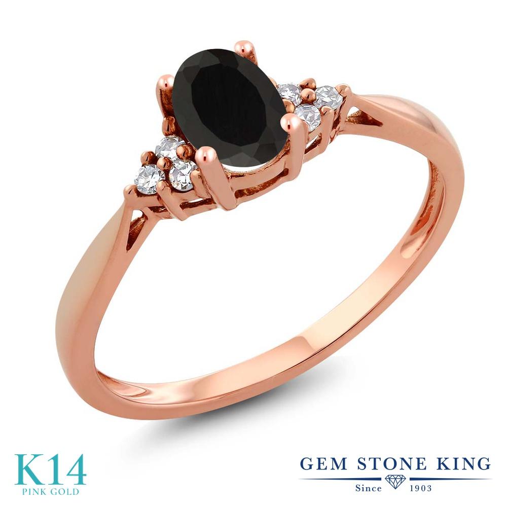 Gem Stone King 0.45カラット 天然 オニキス 天然 ダイヤモンド 14金 ピンクゴールド(K14) 指輪 リング レディース 小粒 ソリティア 華奢 細身 天然石 8月 誕生石 金属アレルギー対応 誕生日プレゼント