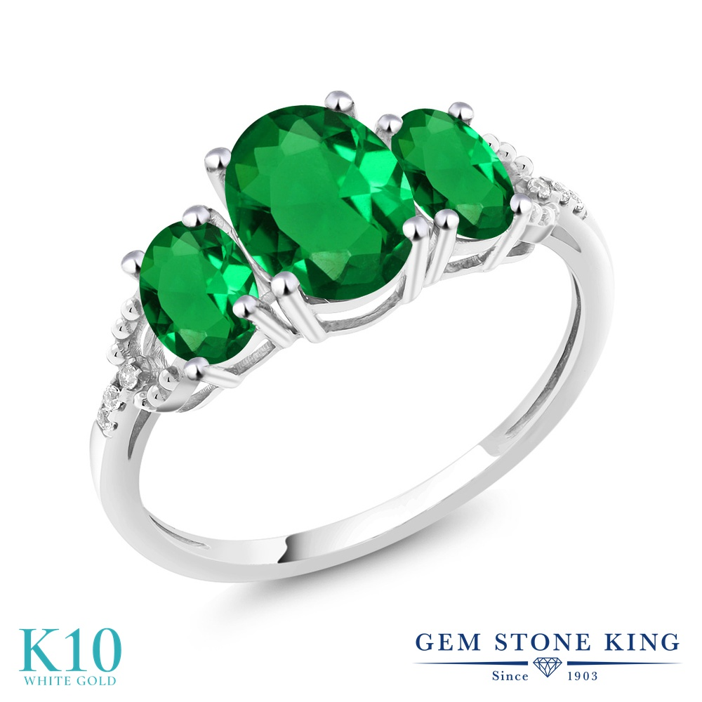 Gem Stone King 1.85カラット ナノエメラルド 天然 ダイヤモンド 10金 ホワイトゴールド(K10) 指輪 リング レディース 大粒 スリーストーン 金属アレルギー対応 誕生日プレゼント
