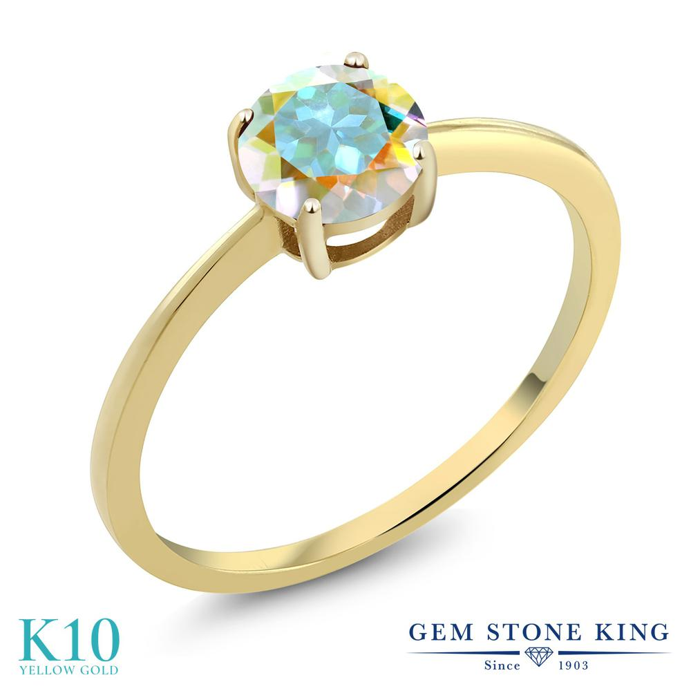 Gem Stone King 1カラット 天然石 ミスティックトパーズ (マーキュリーミスト) 10金 イエローゴールド(K10) 指輪 リング レディース 大粒 一粒 シンプル ソリティア 天然石 金属アレルギー対応 誕生日プレゼント