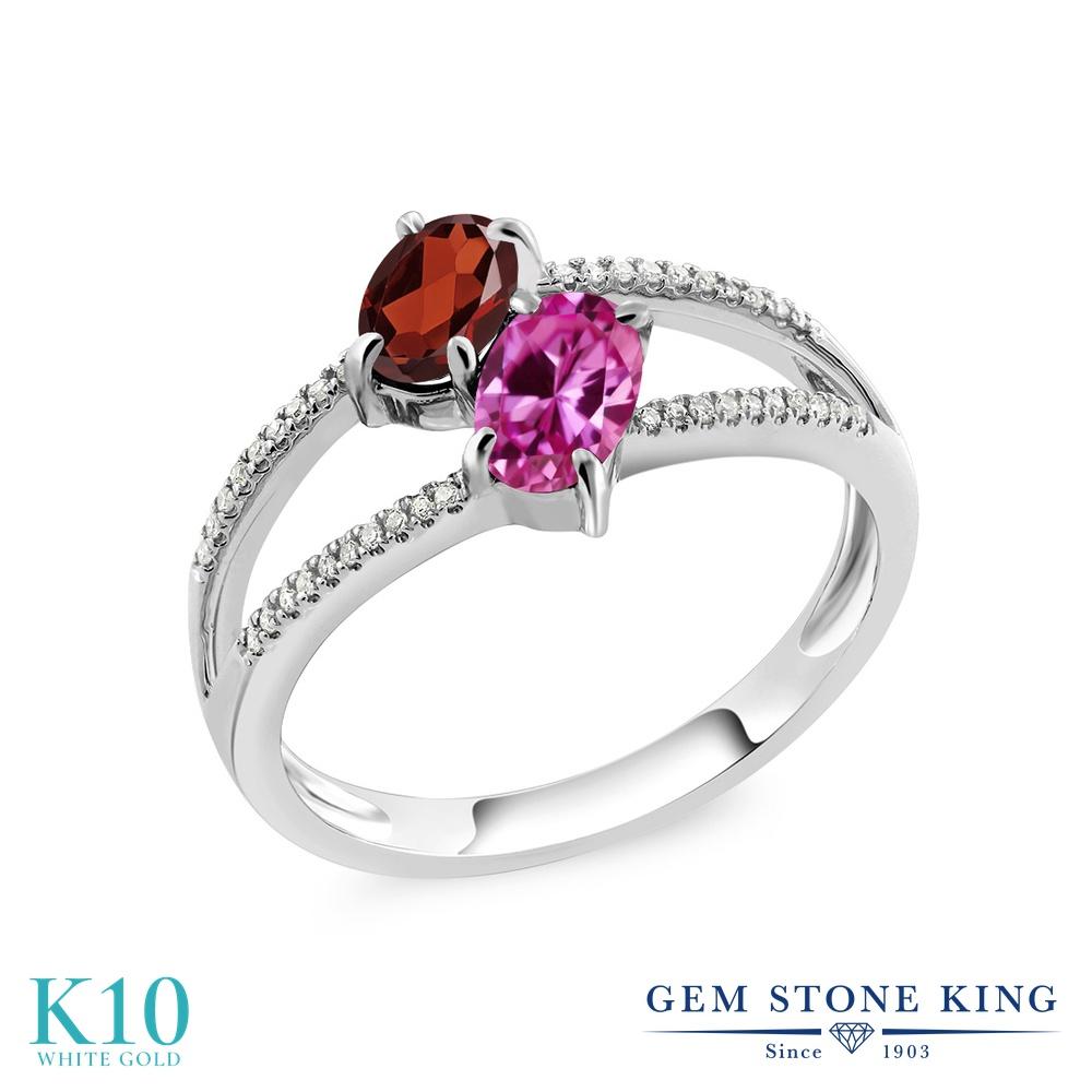 Gem Stone King 1.28カラット 天然 ガーネット 合成ピンクサファイア 天然 ダイヤモンド 10金 ホワイトゴールド(K10) 指輪 リング レディース 小粒 ダブルストーン 天然石 1月 誕生石 金属アレルギー対応 誕生日プレゼント