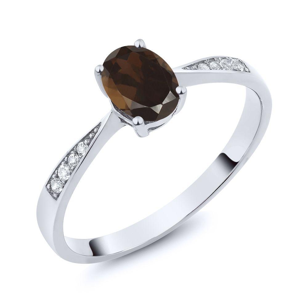 【クーポンで10%OFF】 Gem Stone King 0.81カラット 天然 スモーキークォーツ (ブラウン) 天然 ダイヤモンド 10金 ホワイトゴールド(K10) 指輪 リング レディース ソリティア 天然石 金属アレルギー対応 誕生日プレゼント