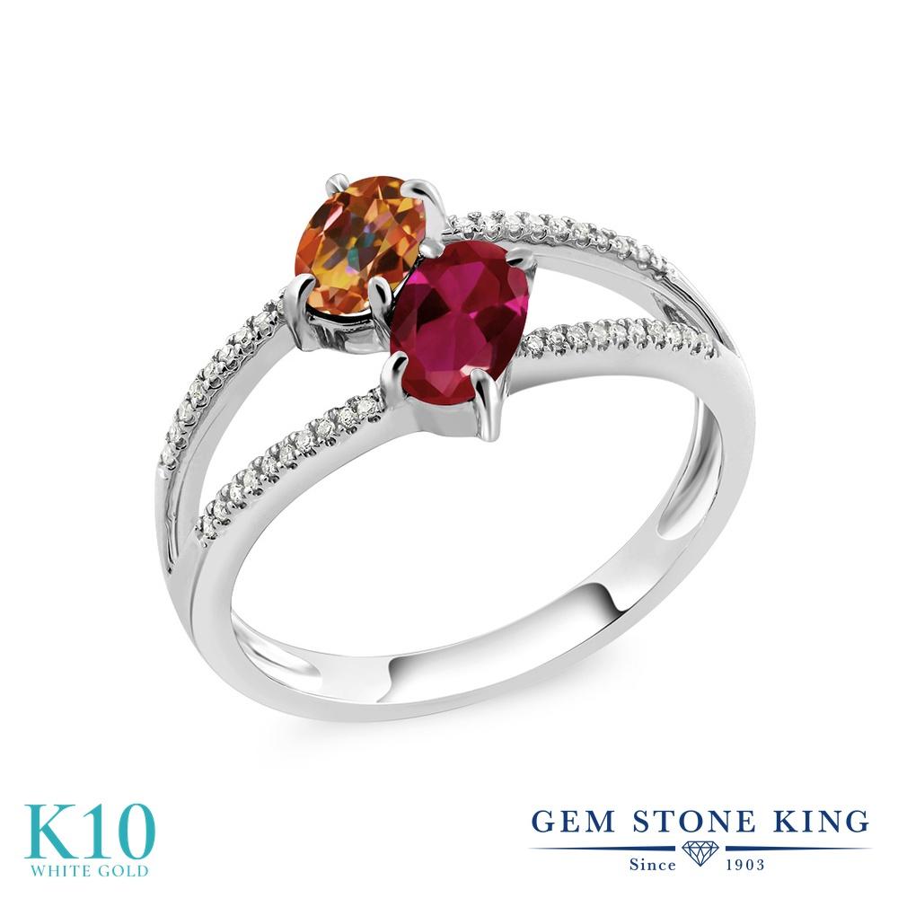 Gem Stone King 1.28カラット 天然石 エクスタシーミスティックトパーズ 合成ルビー 天然 ダイヤモンド 10金 ホワイトゴールド(K10) 指輪 リング レディース 小粒 ダブルストーン 天然石 金属アレルギー対応 誕生日プレゼント