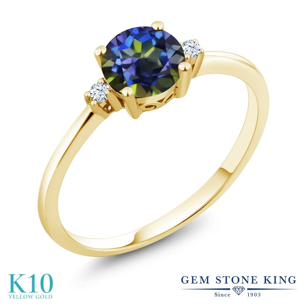 Gem Stone King 1.03カラット 天然石 ミスティックトパーズ (ブルー) 合成ホワイトサファイア (ダイヤのような無色透明) 10金 イエローゴールド(K10) 指輪 リング レディース 大粒 一粒 シンプル ソリティア 天然石 金属アレルギー対応 婚約指輪 エンゲージリング