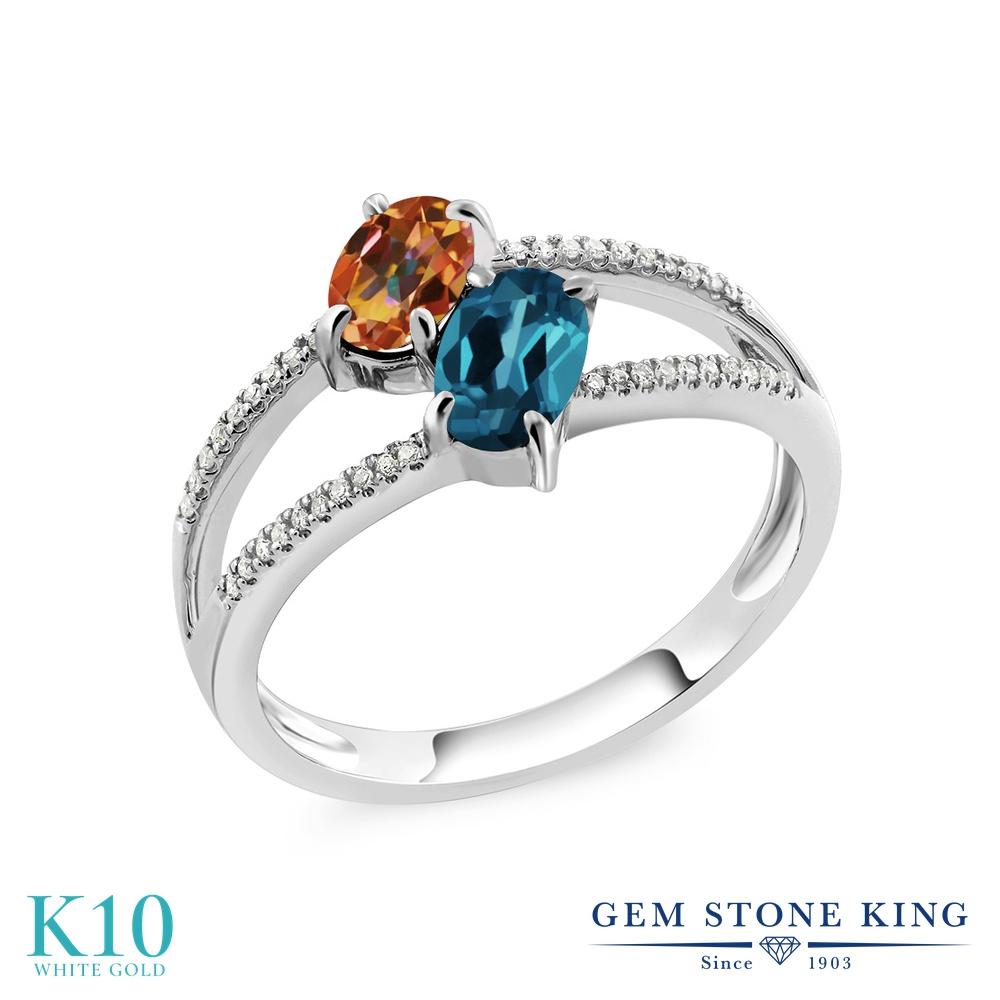 Gem Stone King 1.28カラット 天然石 エクスタシーミスティックトパーズ 天然 ロンドンブルートパーズ 天然 ダイヤモンド 10金 ホワイトゴールド(K10) 指輪 リング レディース 小粒 ダブルストーン 天然石 金属アレルギー対応 誕生日プレゼント