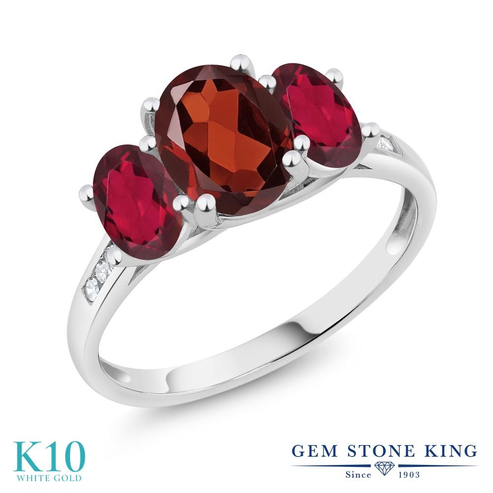 Gem Stone King 2.2カラット 天然 ガーネット 天然 ミスティックトパーズ (ルビーレッド) 天然 ダイヤモンド 10金 ホワイトゴールド(K10) 指輪 リング レディース 大粒 スリーストーン 天然石 1月 誕生石 金属アレルギー対応 誕生日プレゼント