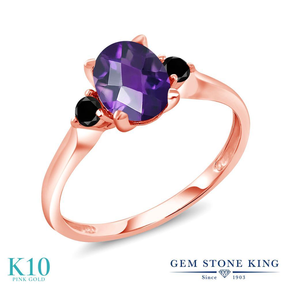 Gem Stone King 1.13カラット 天然 アメジスト 天然ブラックダイヤモンド 10金 ピンクゴールド(K10) 指輪 リング レディース 大粒 シンプル スリーストーン 天然石 2月 誕生石 金属アレルギー対応 誕生日プレゼント