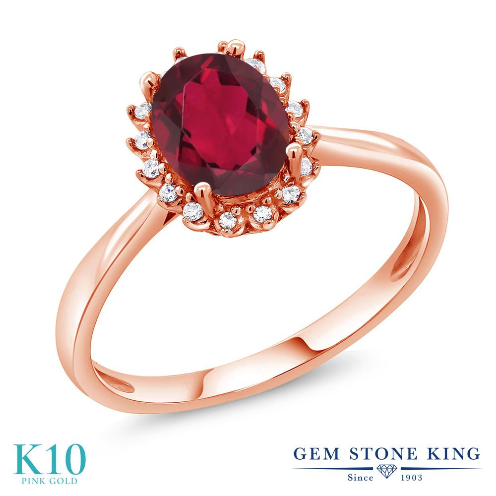 Gem Stone King 1.3カラット 天然 ミスティックトパーズ (ルビーレッド) 天然 ダイヤモンド 10金 ピンクゴールド(K10) 指輪 リング レディース 大粒 ヘイロー 天然石 金属アレルギー対応 誕生日プレゼント