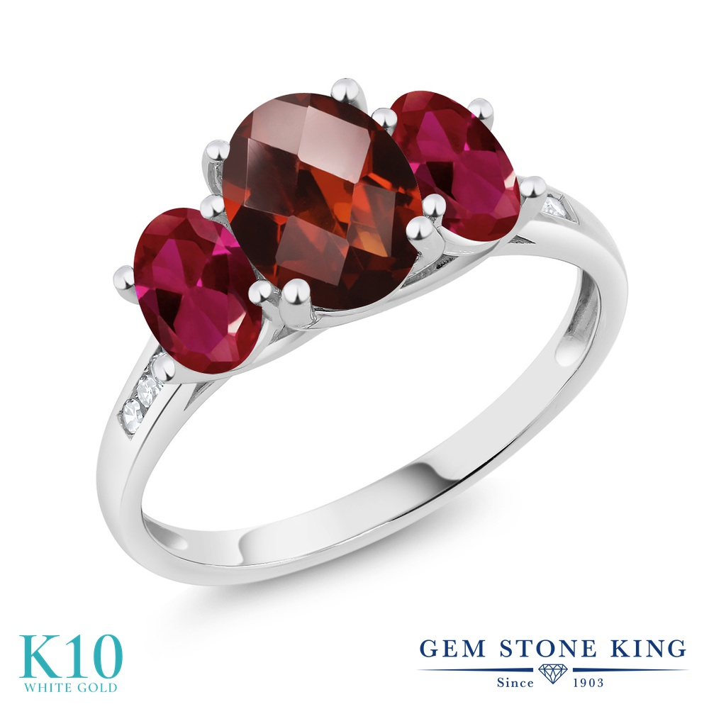Gem Stone King 2.4カラット 天然 ガーネット 合成ルビー 天然 ダイヤモンド 10金 ホワイトゴールド(K10) 指輪 リング レディース 大粒 スリーストーン 天然石 1月 誕生石 金属アレルギー対応 誕生日プレゼント