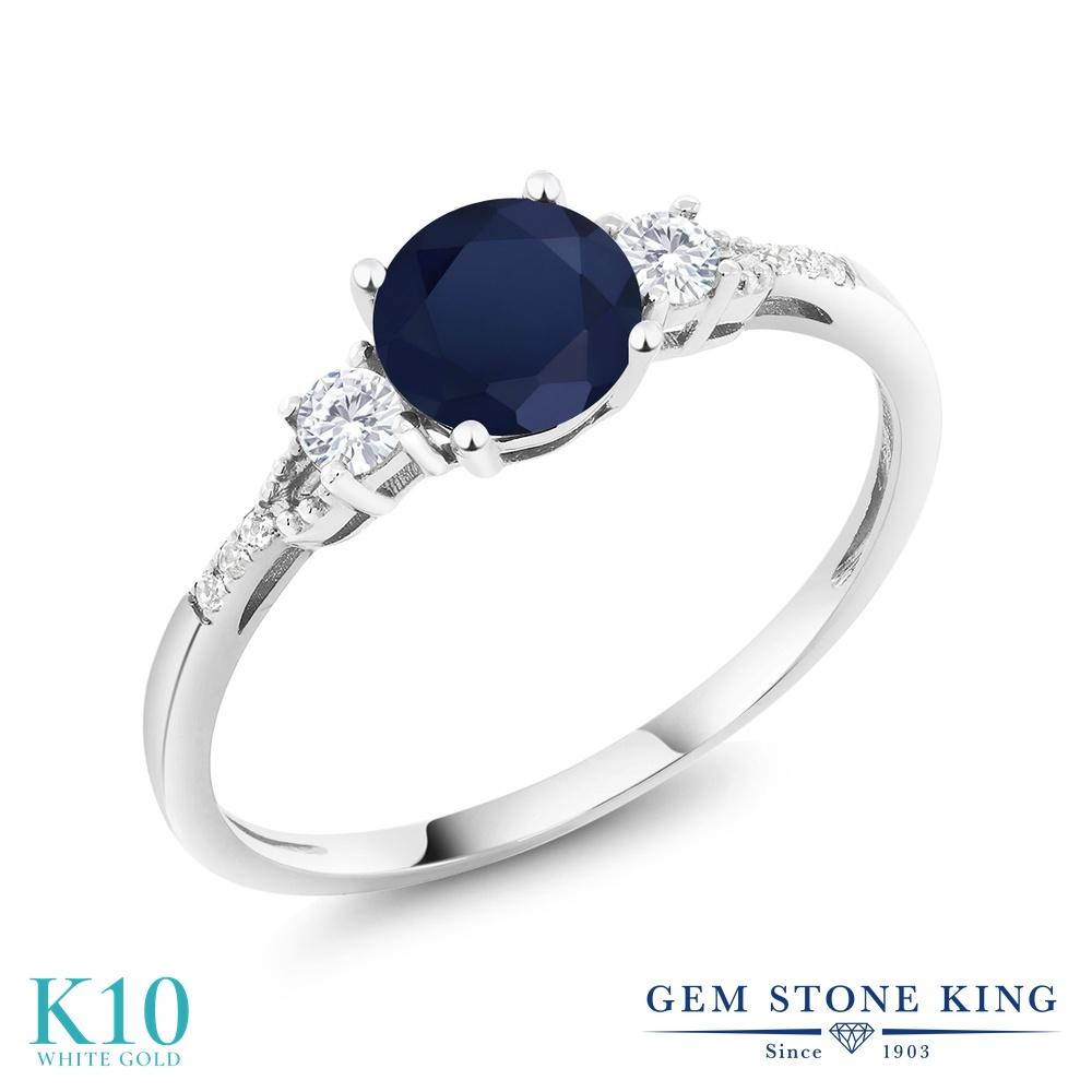 Gem Stone King 1.15カラット 天然 サファイア 合成ホワイトサファイア (ダイヤのような無色透明) 天然 ダイヤモンド 10金 ホワイトゴールド(K10) 指輪 リング レディース 大粒 マルチストーン 天然石 9月 誕生石 金属アレルギー対応 誕生日プレゼント