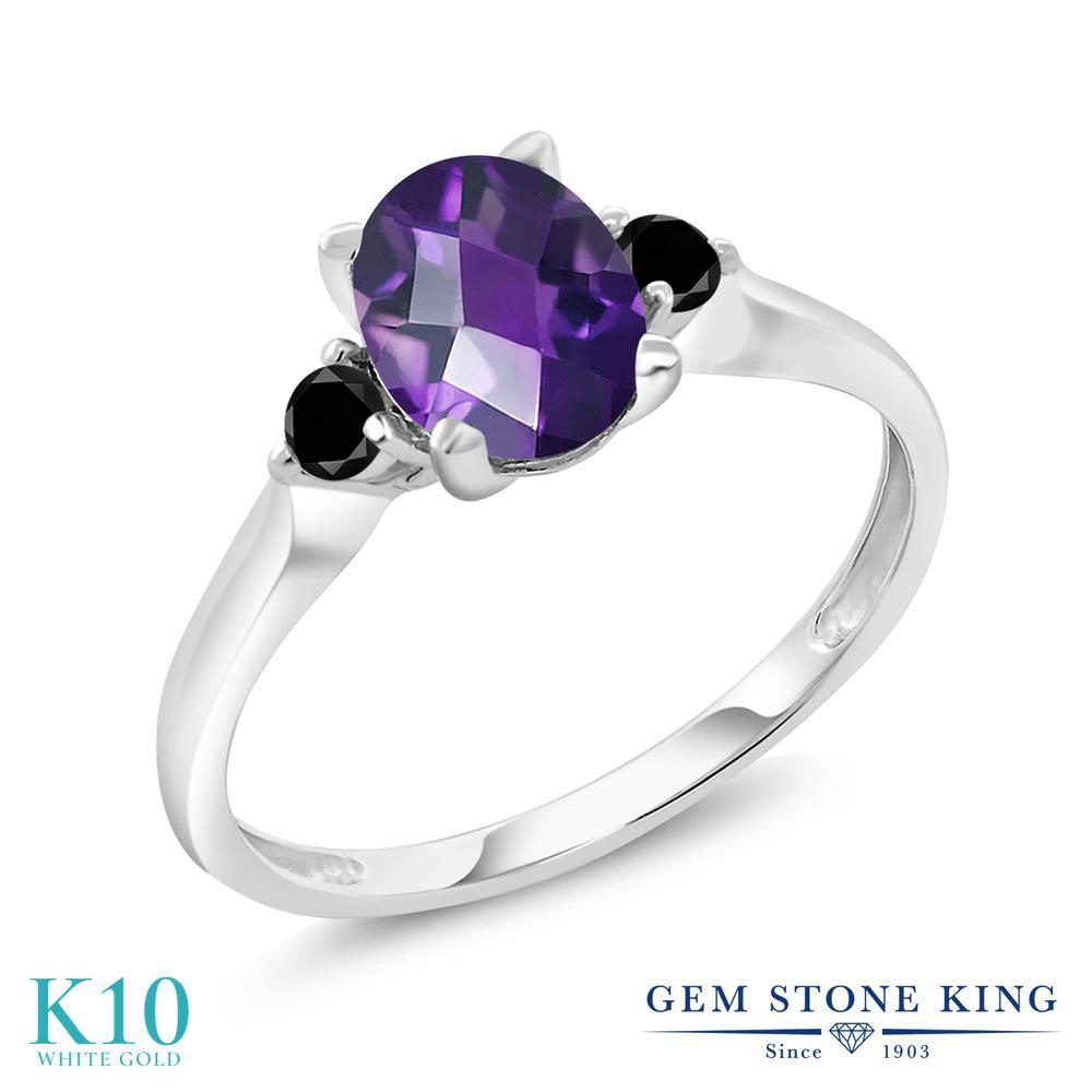 Gem Stone King 1.13カラット 天然 アメジスト 天然ブラックダイヤモンド 10金 ホワイトゴールド(K10) 指輪 リング レディース 大粒 シンプル スリーストーン 天然石 2月 誕生石 金属アレルギー対応 誕生日プレゼント