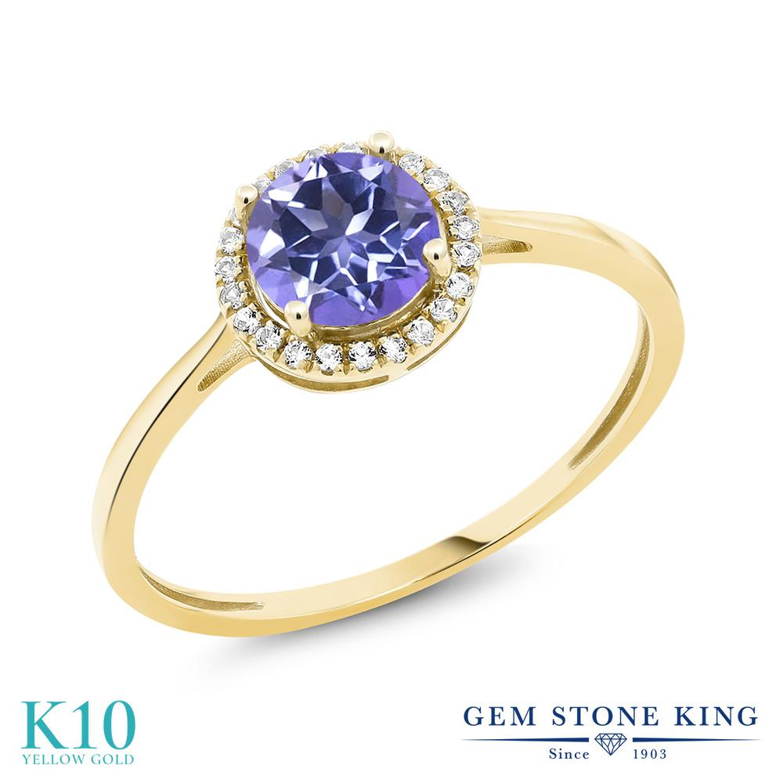 Gem Stone King 1.22カラット 天然 ミスティックトパーズ (タンザナイトブルー) 天然 ダイヤモンド 10金 イエローゴールド(K10) 指輪 リング レディース 大粒 ヘイロー 天然石 金属アレルギー対応 誕生日プレゼント