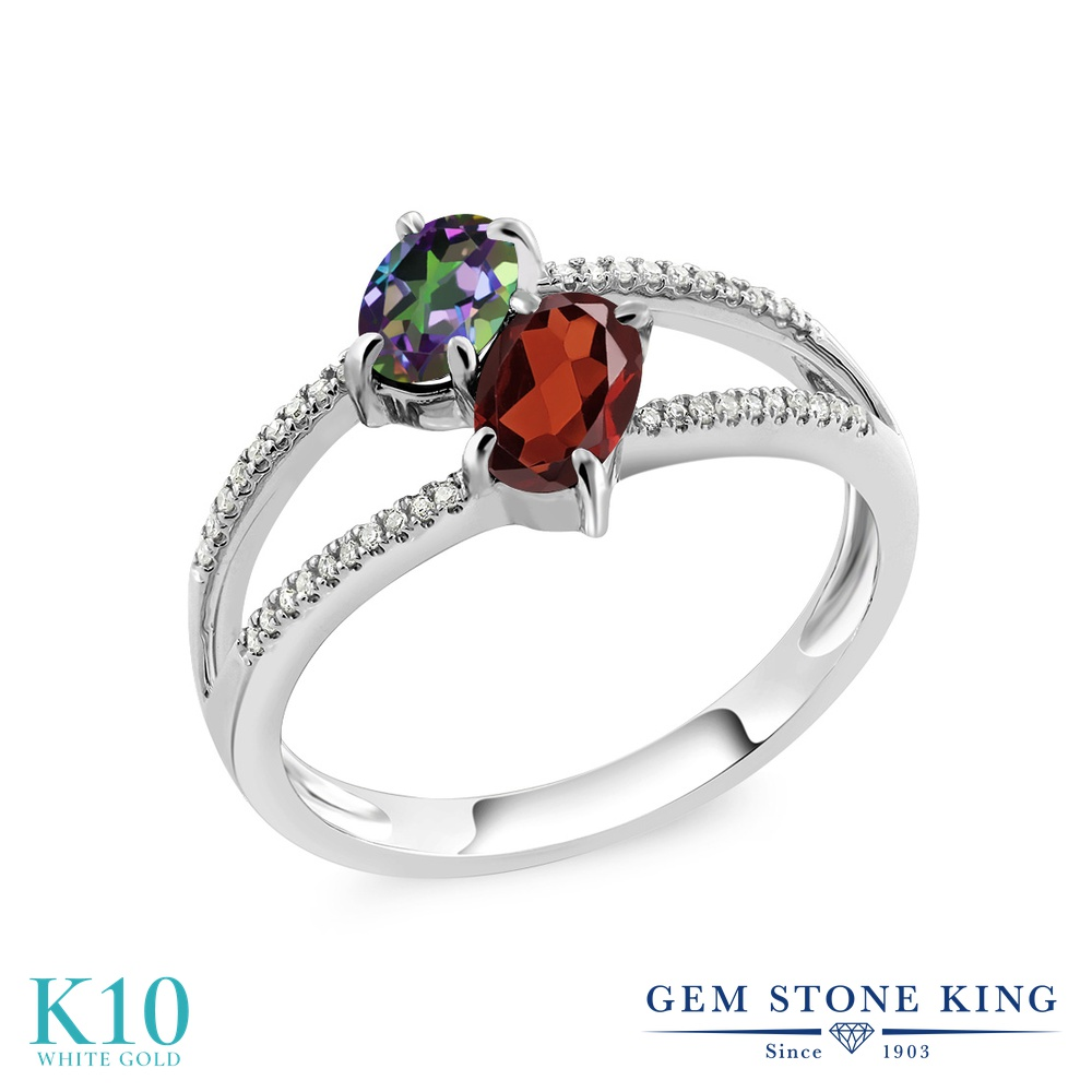 Gem Stone King 1.28カラット 天然石 ミスティックトパーズ (グリーン) 天然 ガーネット 天然 ダイヤモンド 10金 ホワイトゴールド(K10) 指輪 リング レディース 小粒 ダブルストーン 天然石 金属アレルギー対応 誕生日プレゼント
