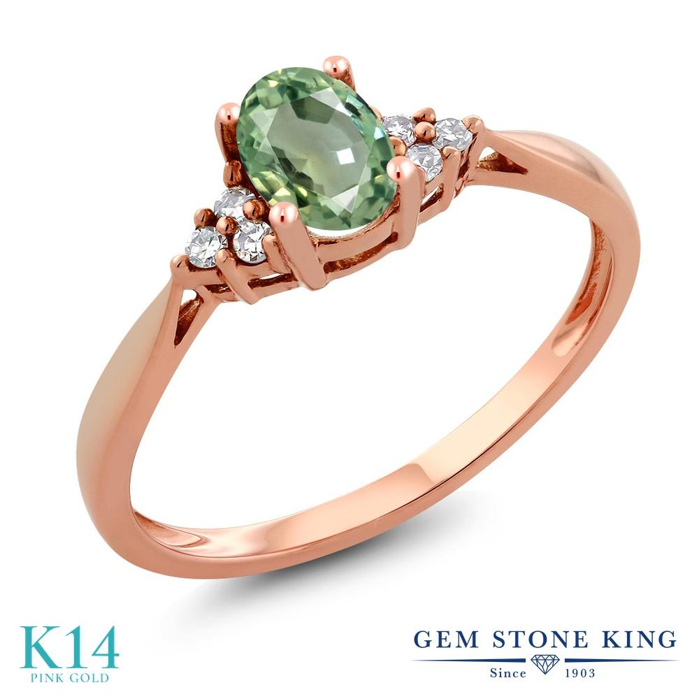 Gem Stone King 0.55カラット 天然 グリーンサファイア 天然 ダイヤモンド 14金 ピンクゴールド(K14) 指輪 リング レディース ソリティア 天然石 9月 誕生石 金属アレルギー対応 誕生日プレゼント