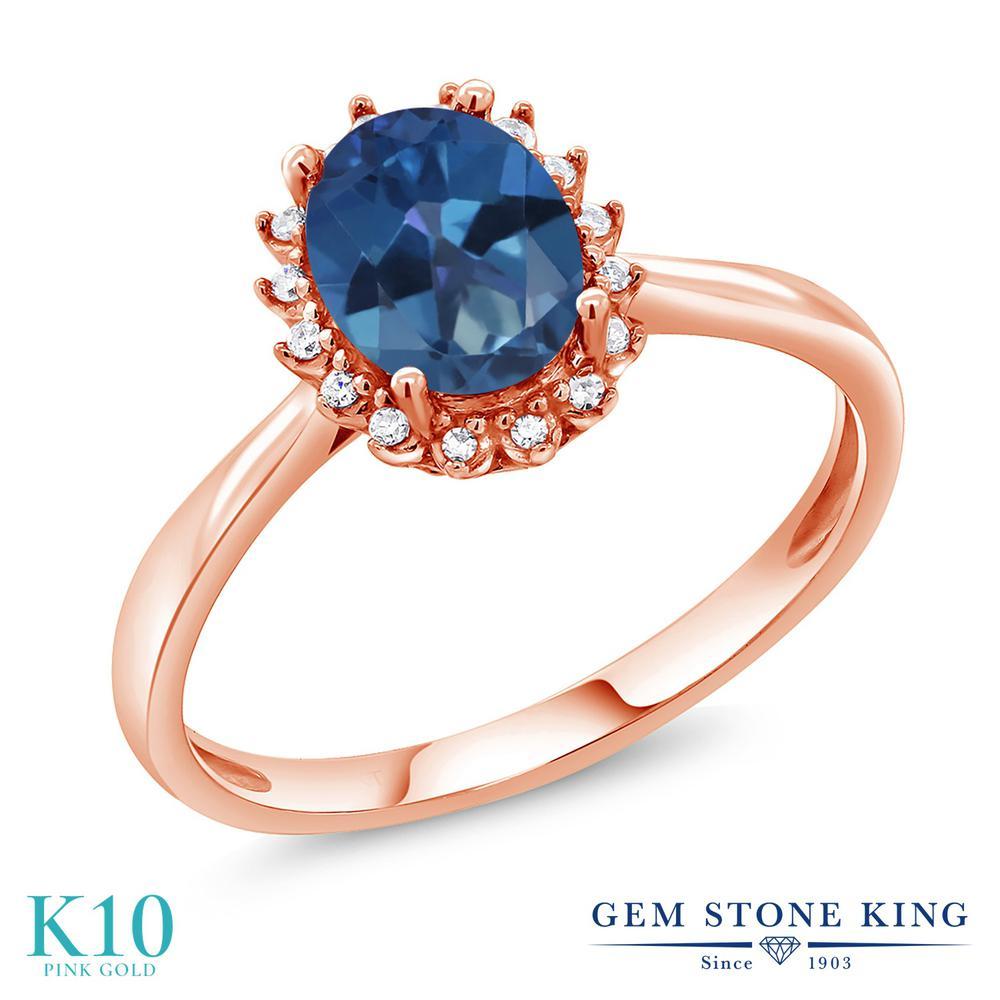 Gem Stone King 1.3カラット 天然 ミスティックトパーズ (サファイアブルー) 天然 ダイヤモンド 10金 ピンクゴールド(K10) 指輪 リング レディース 大粒 ヘイロー 天然石 金属アレルギー対応 誕生日プレゼント