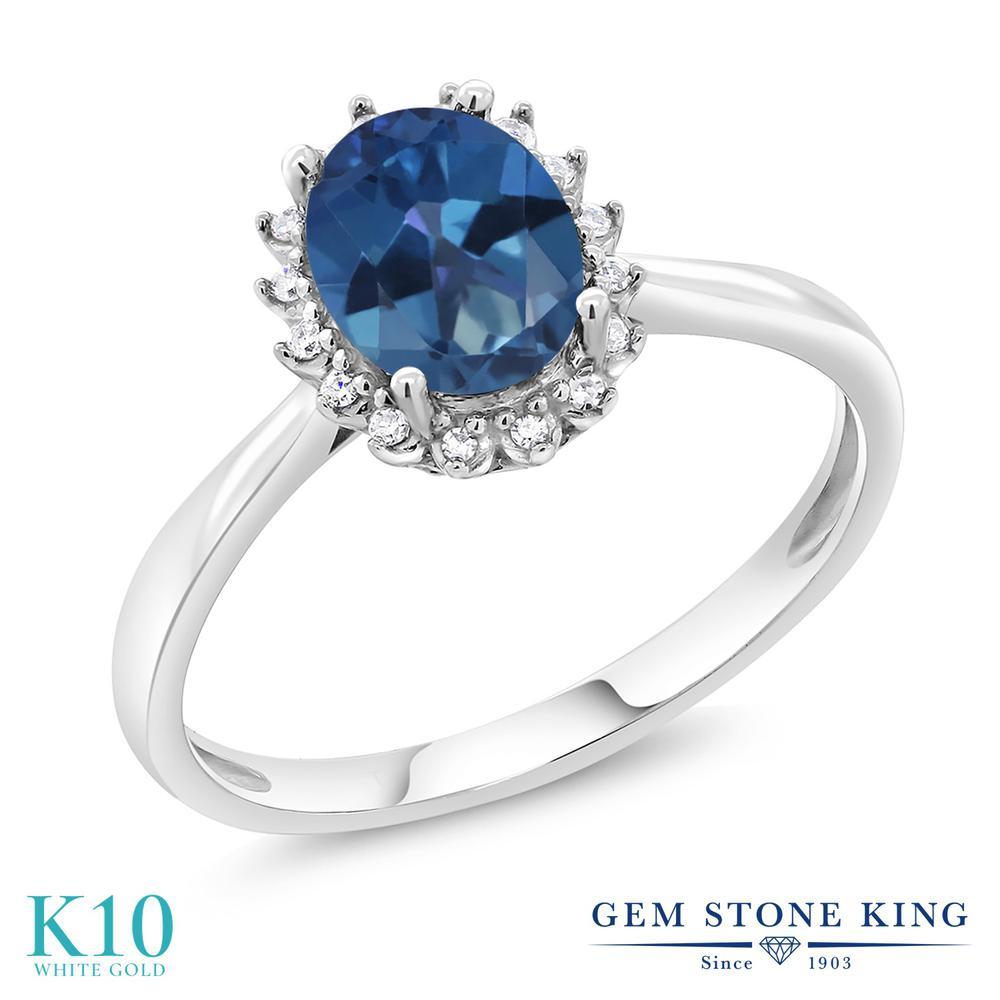 Gem Stone King 1.3カラット 天然 ミスティックトパーズ (サファイアブルー) 天然 ダイヤモンド 10金 ホワイトゴールド(K10) 指輪 リング レディース 大粒 ヘイロー 天然石 金属アレルギー対応 誕生日プレゼント