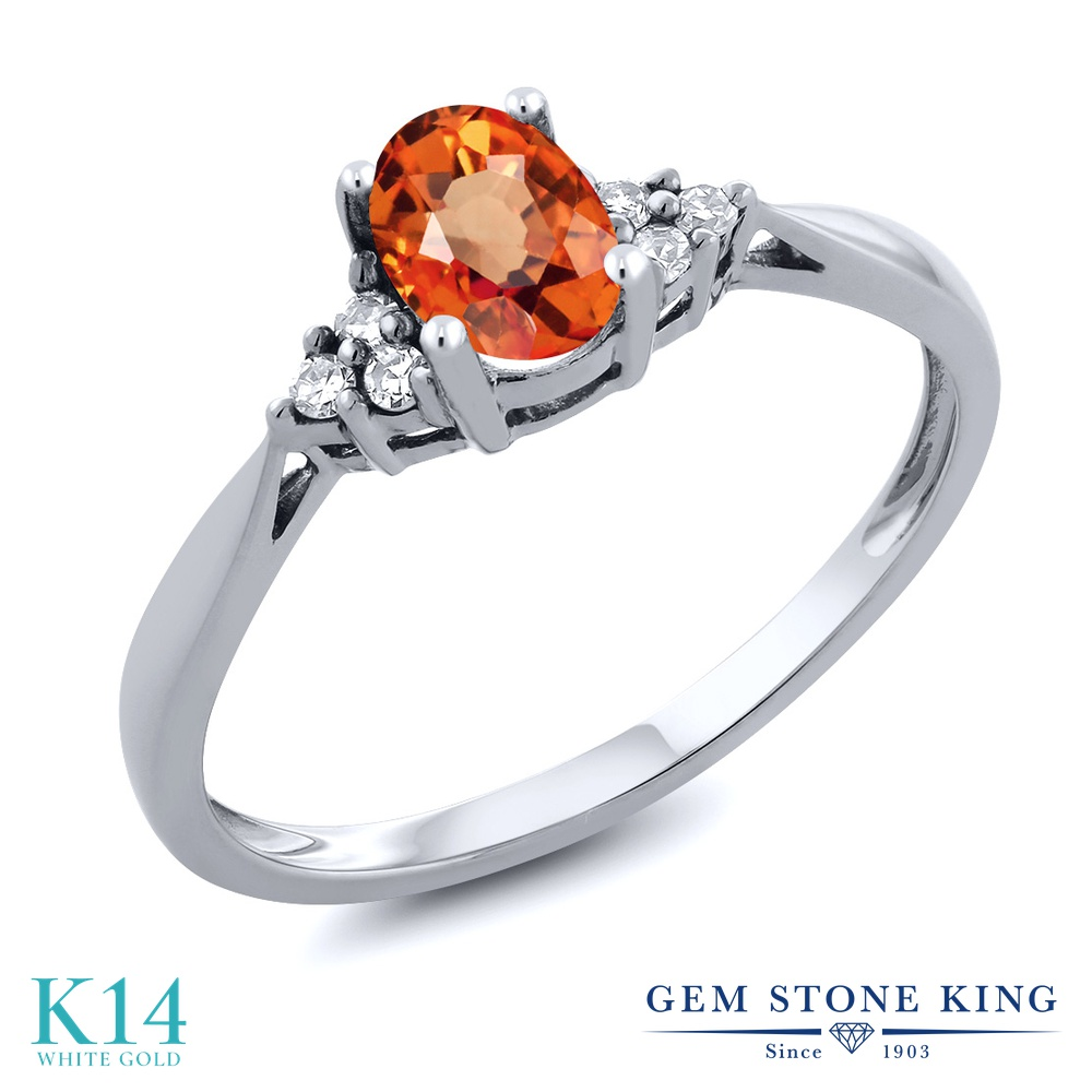 Gem Stone King 0.55カラット 天然 オレンジサファイア 天然 ダイヤモンド 14金 ホワイトゴールド(K14) 指輪 リング レディース ソリティア 天然石 9月 誕生石 金属アレルギー対応 誕生日プレゼント