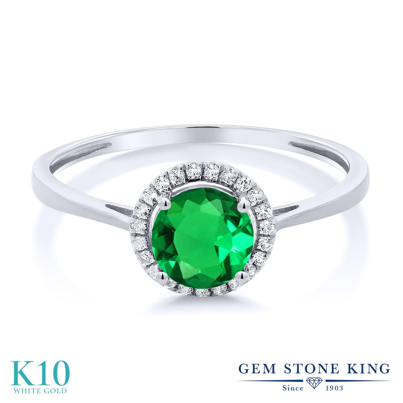 Gem Stone King 0.99カラット ナノエメラルド 天然 ダイヤモンド 10金 ホワイトゴールド(K10) 指輪 リング レディース ヘイロー 金属アレルギー対応 誕生日プレゼント