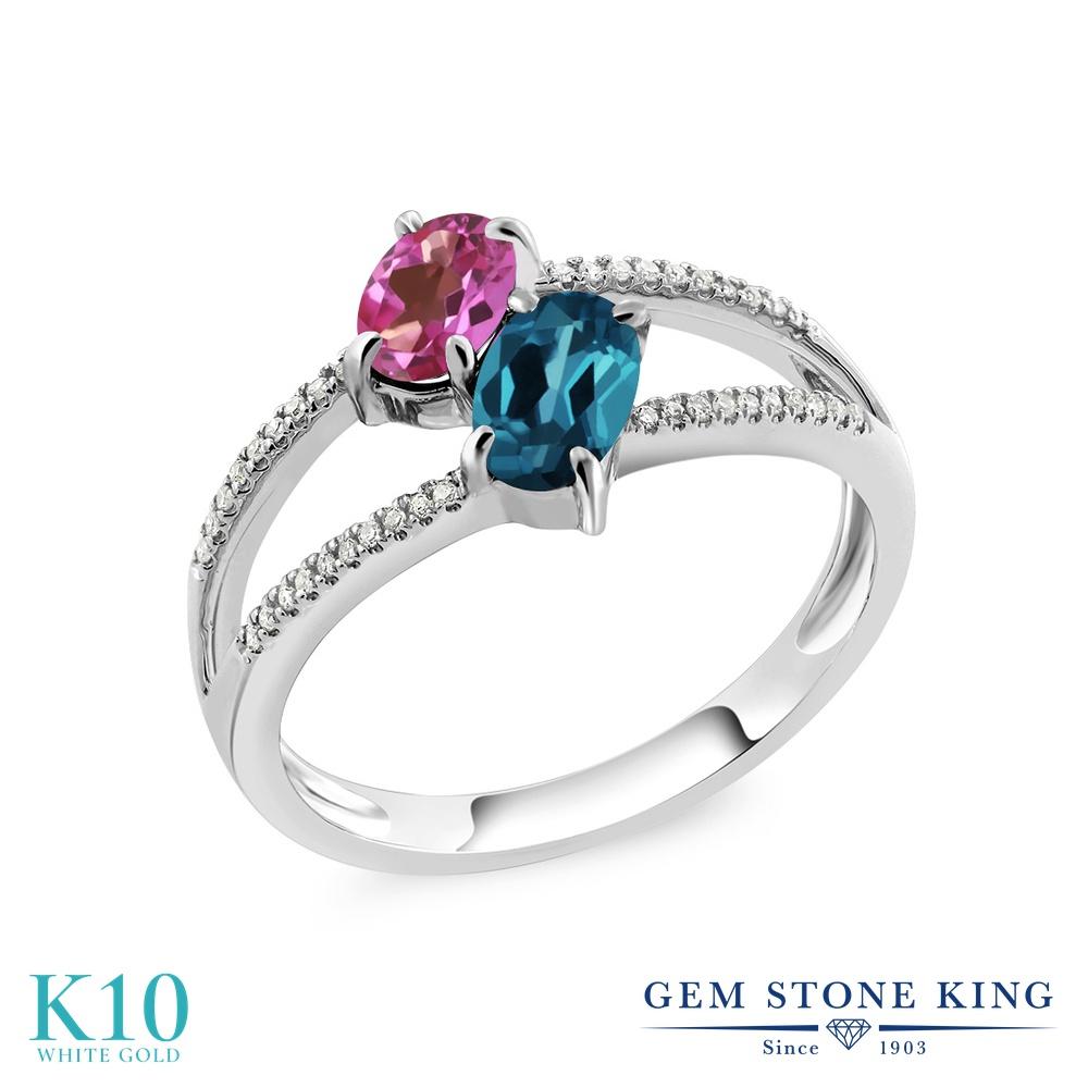 Gem Stone King 1.28カラット 天然 ミスティックトパーズ (ピンク) 天然 ロンドンブルートパーズ 天然 ダイヤモンド 10金 ホワイトゴールド(K10) 指輪 リング レディース 小粒 ダブルストーン 天然石 金属アレルギー対応 誕生日プレゼント