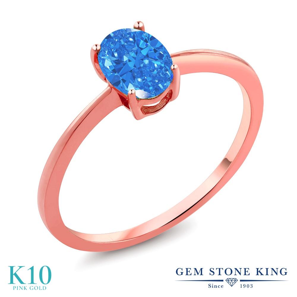 スワロフスキージルコニア (ファンシーブルー) 指輪 レディース リング 10金 ピンクゴールド K10 ブランド おしゃれ 一粒 CZ 青 シンプル 細身 ソリティア プレゼント 女性 彼女 妻 誕生日