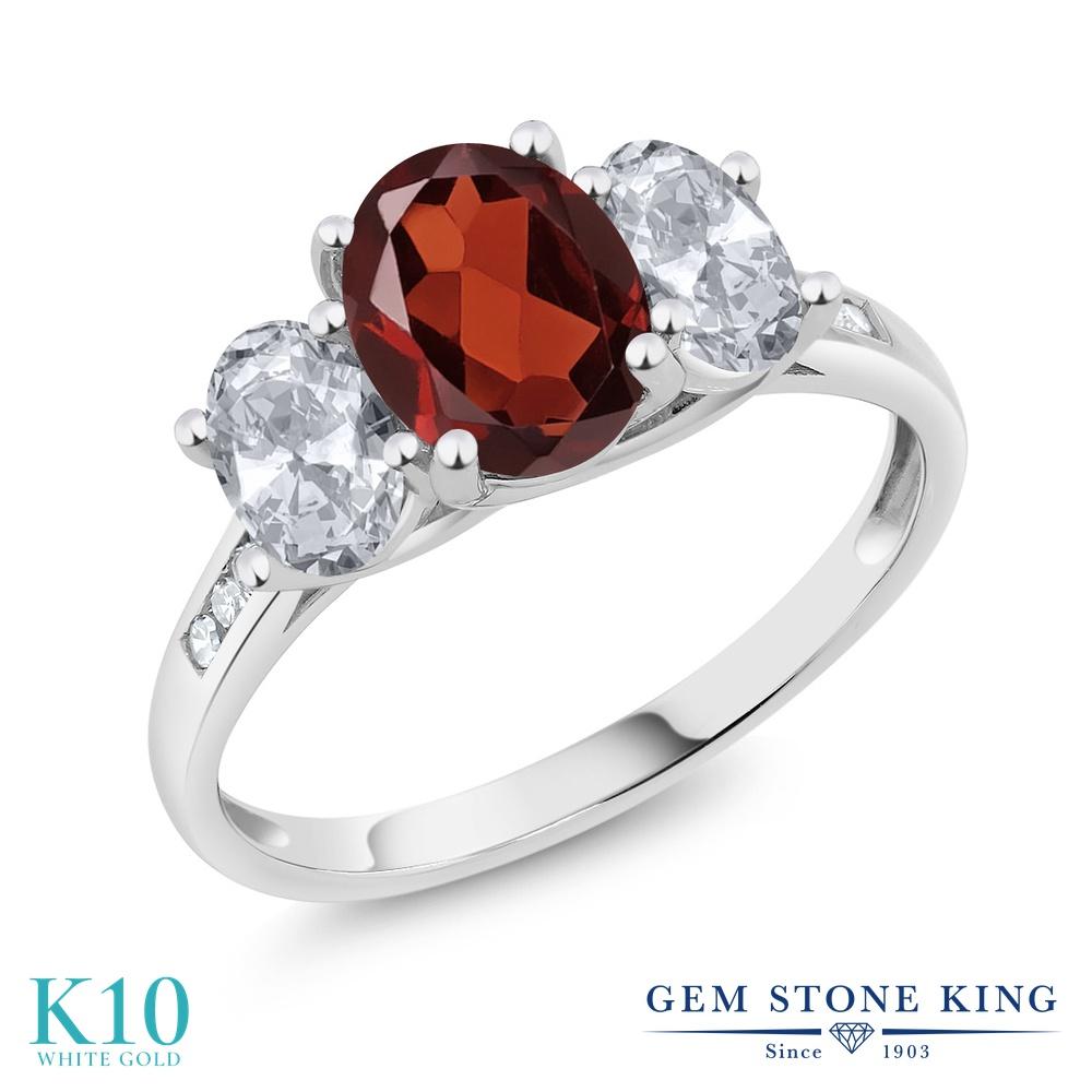 Gem Stone King 2.2カラット 天然 ガーネット 天然 トパーズ (無色透明) 天然 ダイヤモンド 10金 ホワイトゴールド(K10) 指輪 リング レディース 大粒 スリーストーン 天然石 1月 誕生石 金属アレルギー対応 誕生日プレゼント