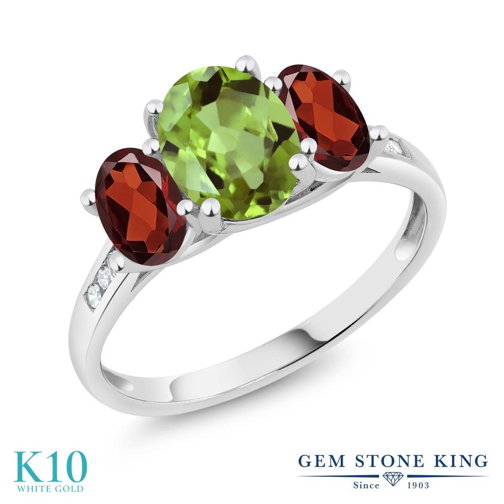 Gem Stone King 2.33カラット 天然石 ペリドット 天然 ガーネット 天然 ダイヤモンド 10金 ホワイトゴールド(K10) 指輪 リング レディース 大粒 スリーストーン 天然石 8月 誕生石 金属アレルギー対応 誕生日プレゼント