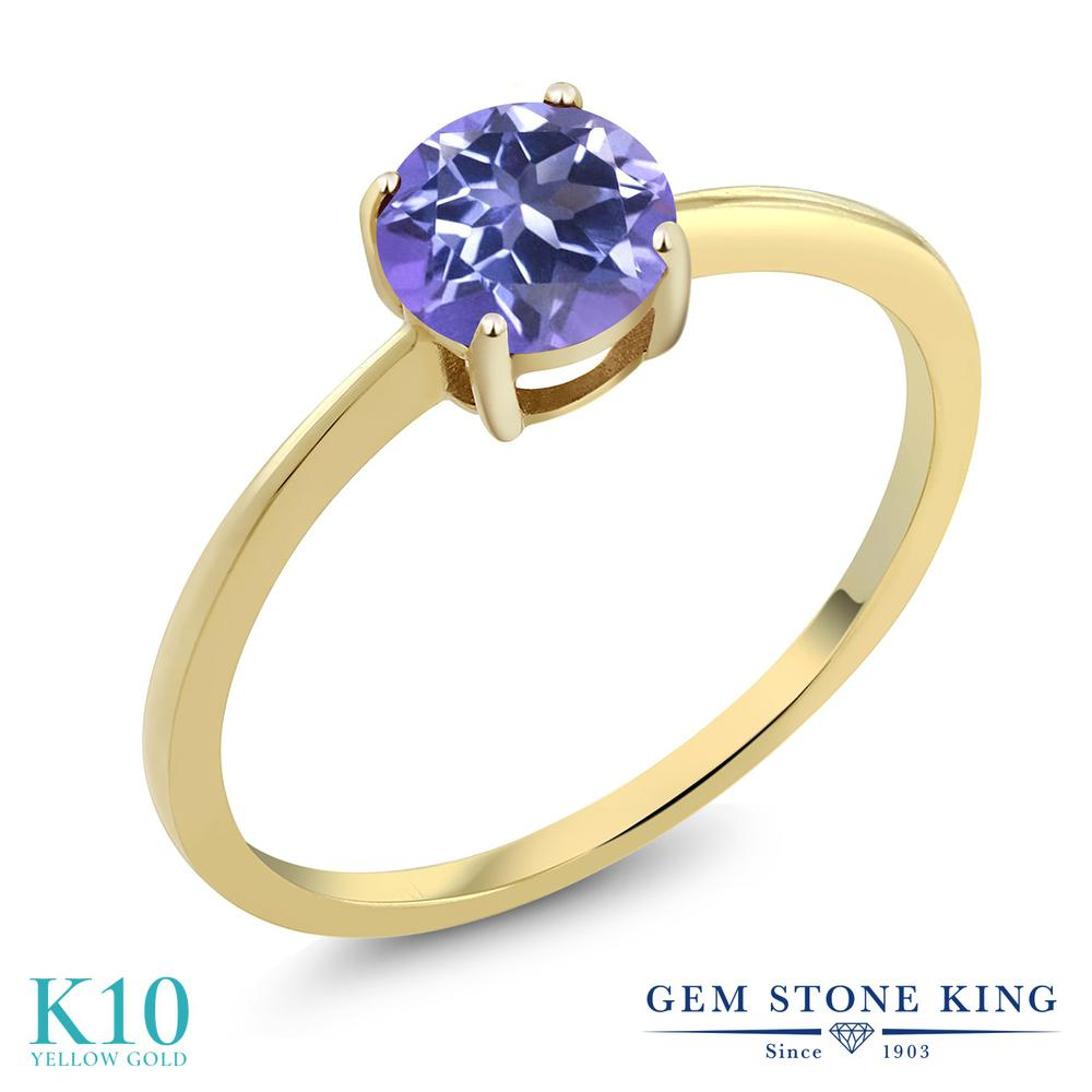 Gem Stone King 1カラット 天然 ミスティックトパーズ (タンザナイトブルー) 10金 イエローゴールド(K10) 指輪 リング レディース 大粒 一粒 シンプル ソリティア 天然石 金属アレルギー対応 婚約指輪 エンゲージリング