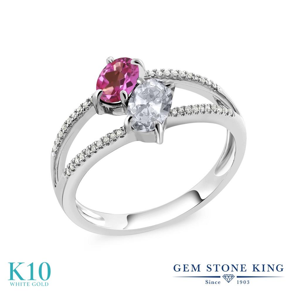 Gem Stone King 1.28カラット 天然 ミスティックトパーズ (ピンク) 天然 トパーズ (無色透明) 天然 ダイヤモンド 10金 ホワイトゴールド(K10) 指輪 リング レディース 小粒 ダブルストーン 天然石 金属アレルギー対応 誕生日プレゼント