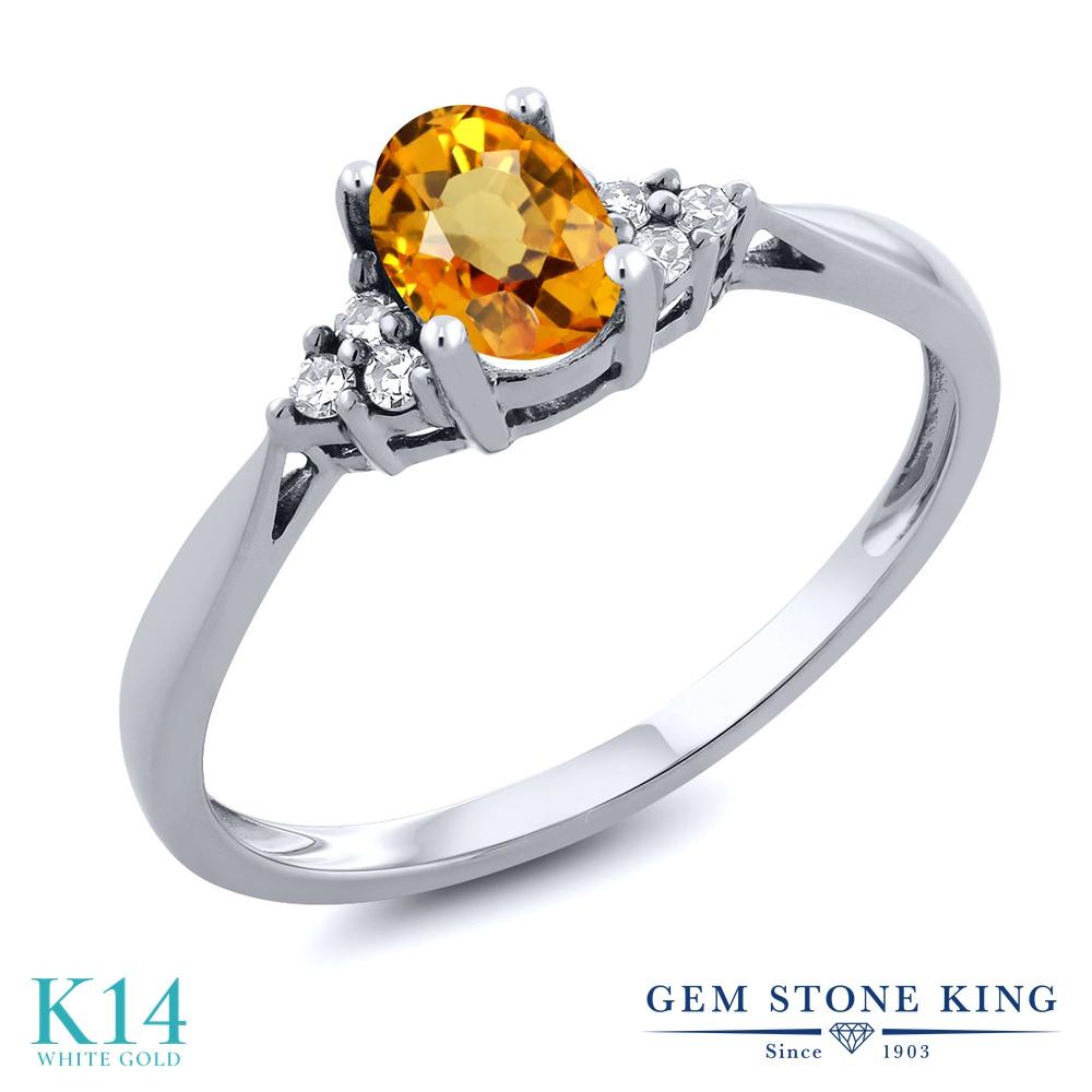 Gem Stone King 0.55カラット 天然 イエローサファイア 天然 ダイヤモンド 14金 ホワイトゴールド(K14) 指輪 リング レディース ソリティア 天然石 9月 誕生石 金属アレルギー対応 誕生日プレゼント