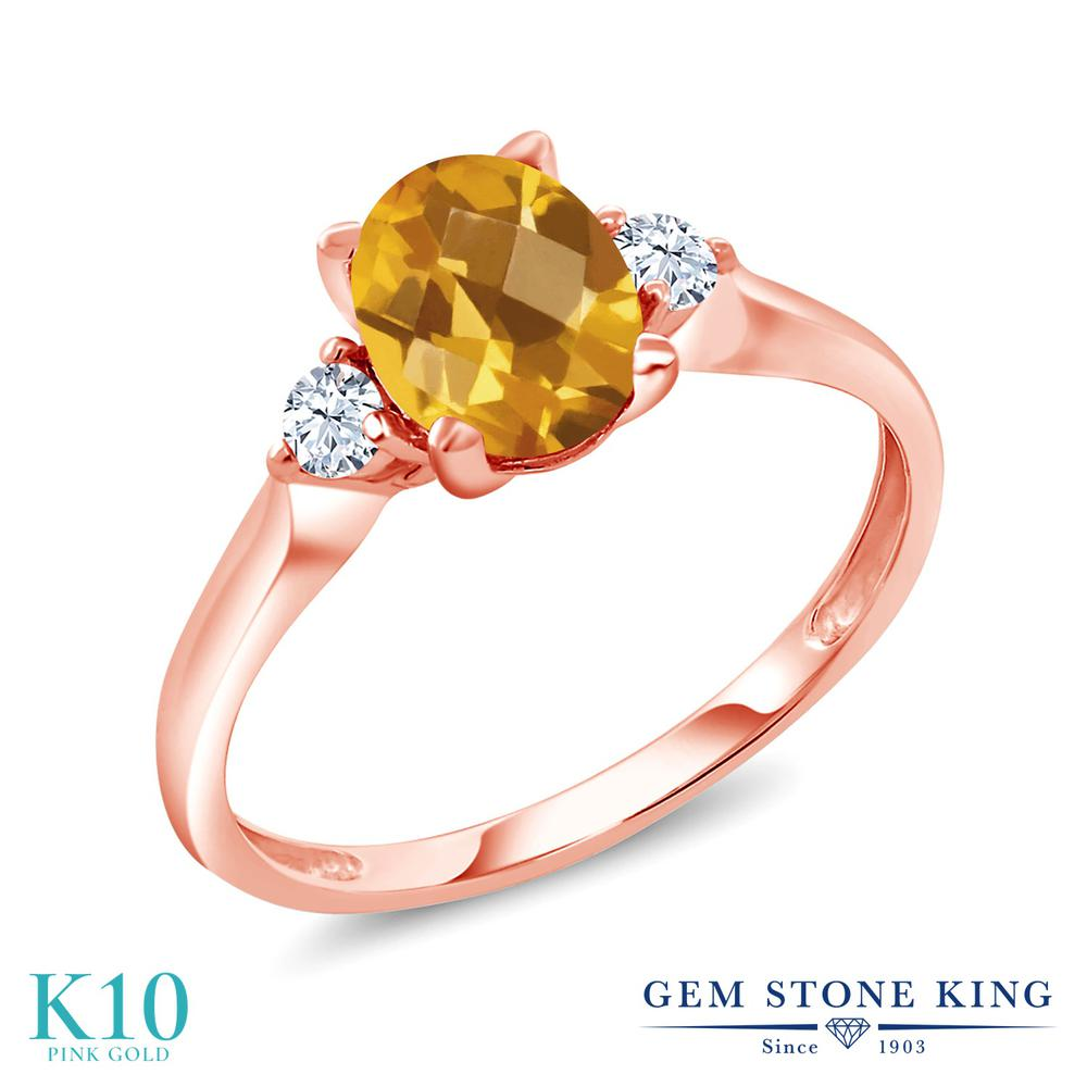 【10%OFF】 Gem Stone King 1.35カラット 天然 シトリン 合成ホワイトサファイア (ダイヤのような無色透明) 指輪 リング レディース 10金 ピンクゴールド K10 大粒 シンプル スリーストーン 天然石 11月 誕生石 クリスマスプレゼント 女性 彼女 妻 誕生日