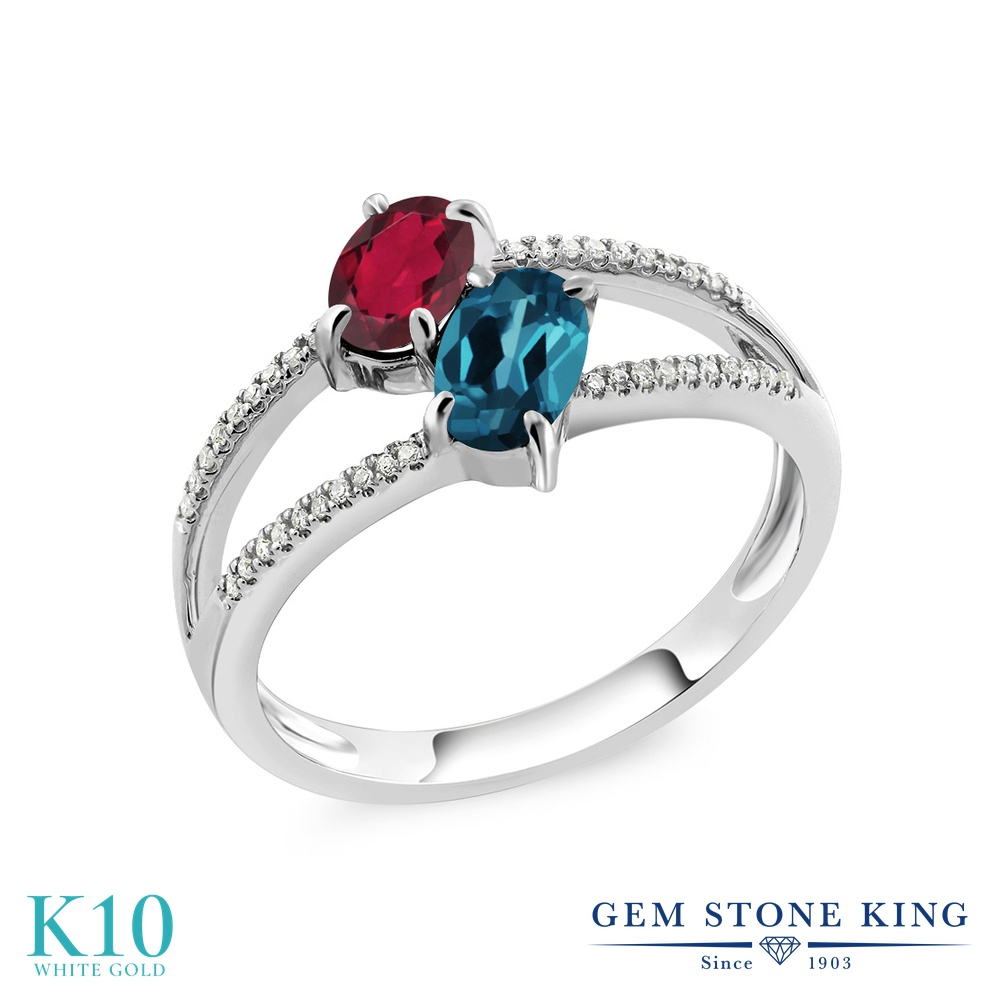 Gem Stone King 1.28カラット 天然 ミスティックトパーズ (ルビーレッド) 天然 ロンドンブルートパーズ 天然 ダイヤモンド 10金 ホワイトゴールド(K10) 指輪 リング レディース 小粒 ダブルストーン 天然石 金属アレルギー対応 誕生日プレゼント