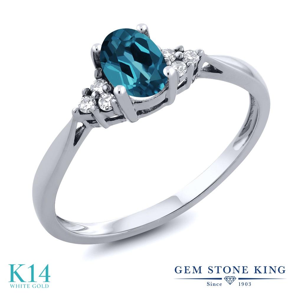 Gem Stone King 0.56カラット 天然 ロンドンブルートパーズ 天然 ダイヤモンド 14金 ホワイトゴールド(K14) 指輪 リング レディース 小粒 ソリティア 天然石 11月 誕生石 金属アレルギー対応 誕生日プレゼント