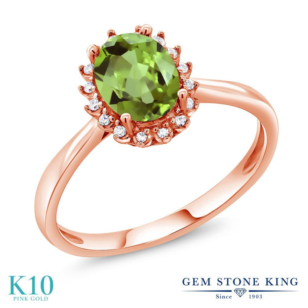 【10%OFF】 Gem Stone King 1.42カラット 天然石 ペリドット 天然 ダイヤモンド 指輪 リング レディース 10金 ピンクゴールド K10 大粒 ヘイロー 8月 誕生石 クリスマスプレゼント 女性 彼女 妻 誕生日