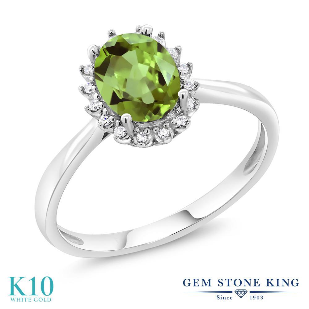 Gem Stone King 1.42カラット 天然石 ペリドット 天然 ダイヤモンド 10金 ホワイトゴールド(K10) 指輪 リング レディース 大粒 ヘイロー 天然石 8月 誕生石 金属アレルギー対応 誕生日プレゼント