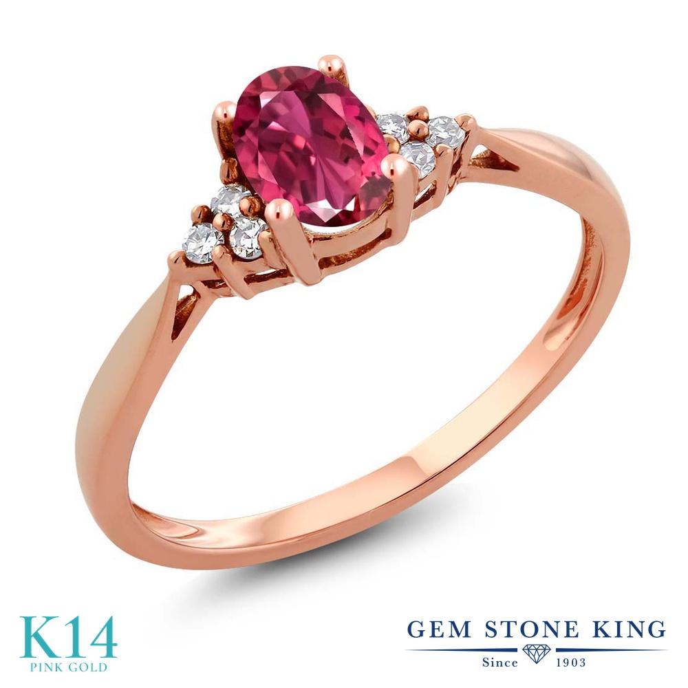 Gem Stone King 0.56カラット 天然 ピンクトルマリン 天然 ダイヤモンド 14金 ピンクゴールド(K14) 指輪 リング レディース 小粒 ソリティア 天然石 10月 誕生石 金属アレルギー対応 誕生日プレゼント