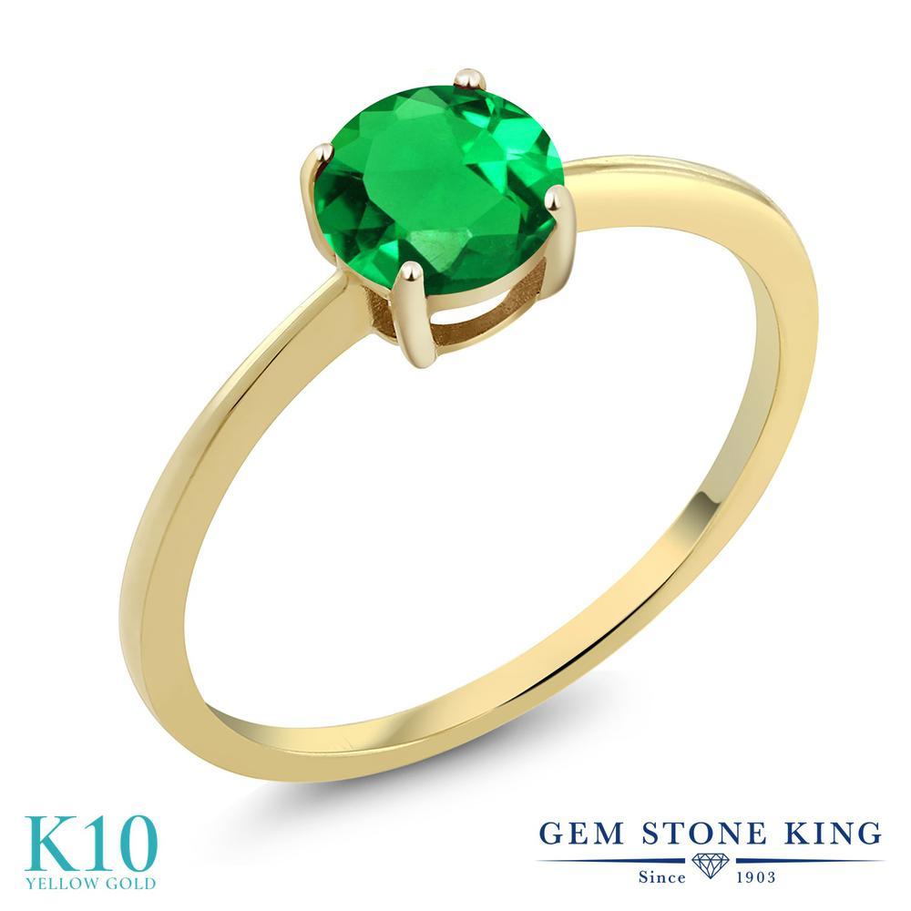 Gem Stone King 0.77カラット ナノエメラルド 10金 イエローゴールド(K10) 指輪 リング レディース 一粒 シンプル ソリティア 金属アレルギー対応 婚約指輪 エンゲージリング