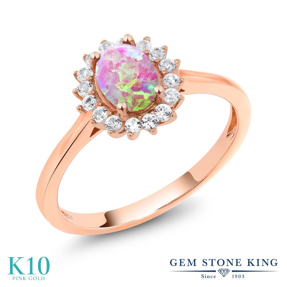 【10%OFF】 Gem Stone King 0.87カラット シミュレイテッド ピンクオパール 合成ホワイトサファイア (ダイヤのような無色透明) 指輪 リング レディース 10金 ピンクゴールド K10 クラスター 10月 誕生石 クリスマスプレゼント 女性 彼女 妻 誕生日