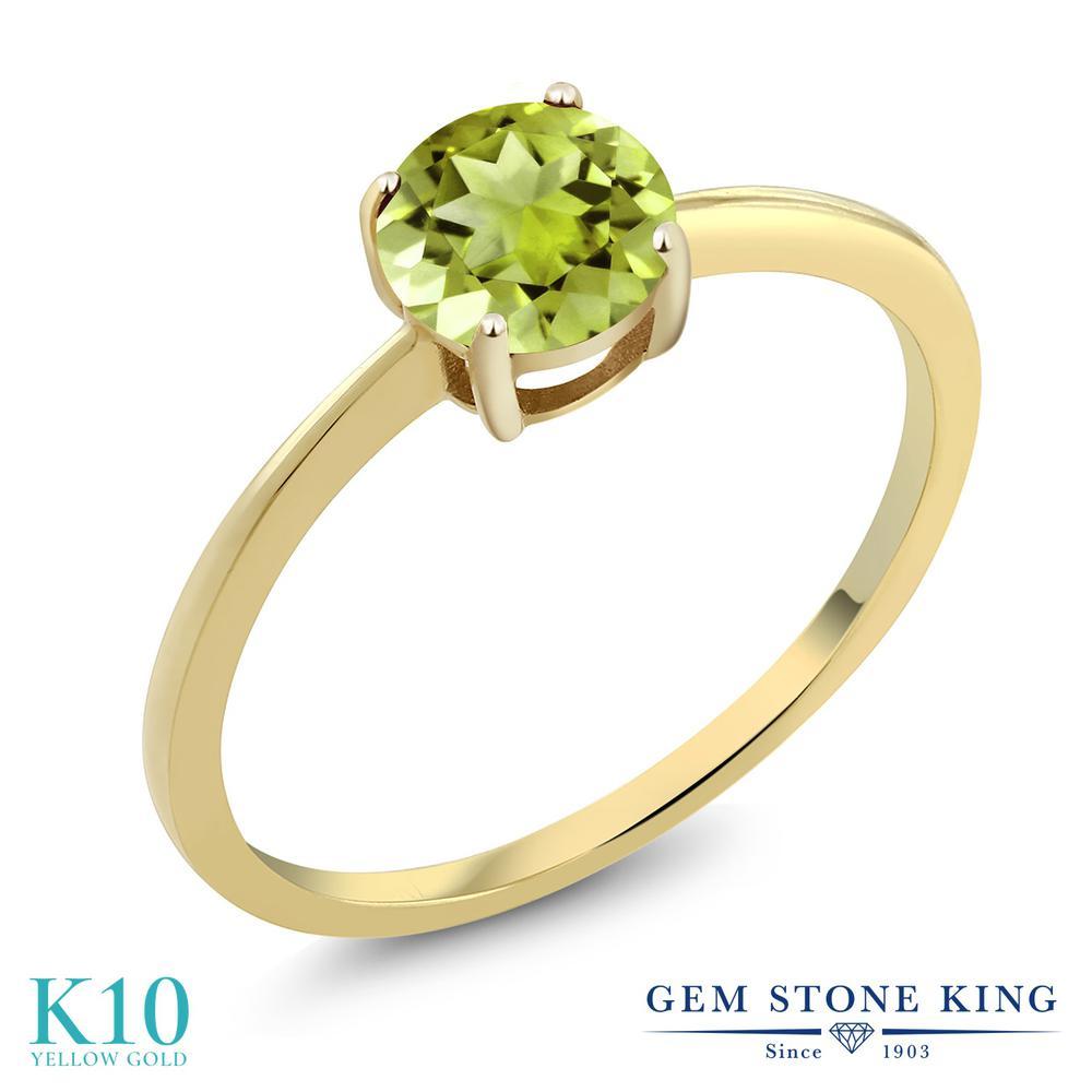 1カラット 天然石 ペリドット 指輪 レディース リング 10金 イエローゴールド K10 ブランド おしゃれ 一粒 緑 大粒 シンプル 細身 ソリティア 8月 誕生石 婚約指輪 エンゲージリング