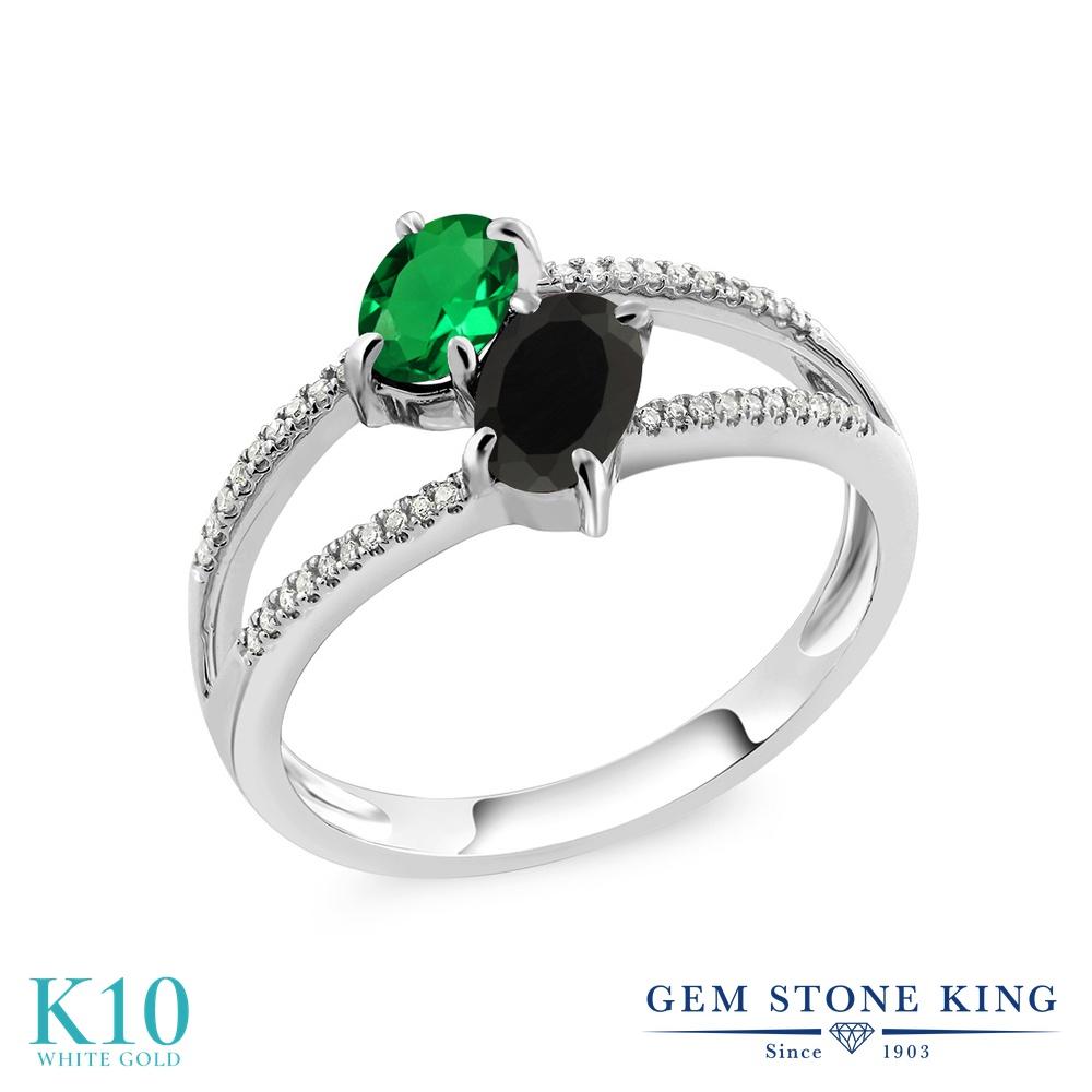 Gem Stone King 1.07カラット ナノエメラルド 天然 オニキス 天然 ダイヤモンド 10金 ホワイトゴールド(K10) 指輪 リング レディース 小粒 ダブルストーン 金属アレルギー対応 誕生日プレゼント