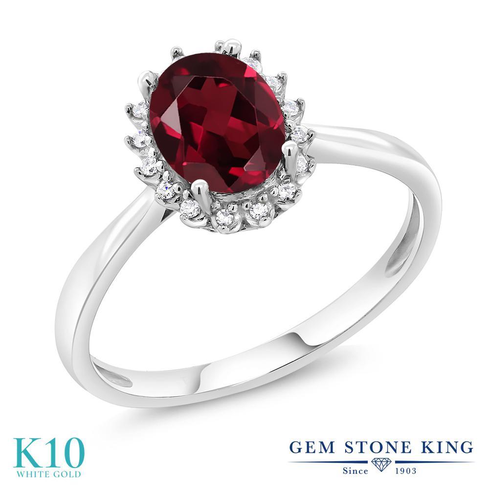 彼女 天然 妻 大粒 1.35カラット リング ダイヤモンド 誕生日 10金 女性 ホワイトゴールド 天然石 プレゼント K10 レディース ヘイロー 指輪 ロードライトガーネット